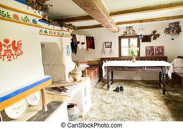Interior of old Ukrainian rural home