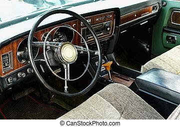 Interior of old vintage car