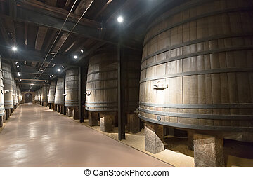 winery  with vintage wooden barrels