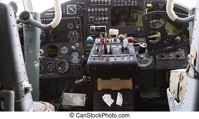 Interior of pilot's cabin of an old abandoned Soviet small propeller plane