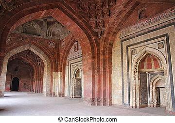Interior of Qila-i-kuna Mosque, Purana Qila, New Delhi,...