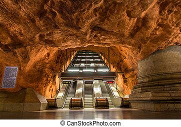 Interior of Radhuset station, Stockholm metro