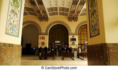 Interior of railway station with traditionally painted walls...