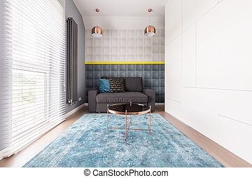 Interior of rectangular bedroom