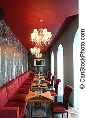 interior of restaurant in red color