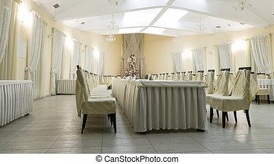 Interior of restaurant in winter