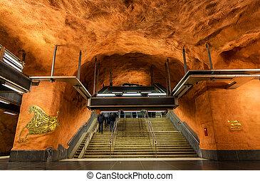 Interior of Rinkeby station, Stockholm metro