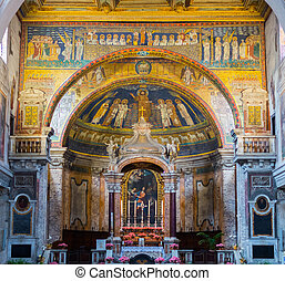 Interior of the wonderful Basilica of Saint Praxedes in Rome city centre, Italy. Details of the apsidal arch with colorful mosaics (IX sec.).