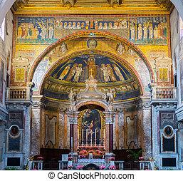 Interior of roman church, Rome, Italy - Interior of the...