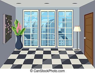 Interior of room in high rise apartment illustration
