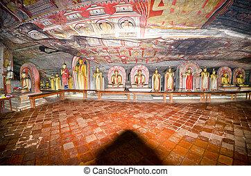 interior of royal rock temple in Dambulla, Sri lanka, 07.12....