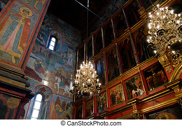 interior of russian orthodox church at Moscow Kremlin