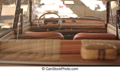 Interior of russian restored beige old car