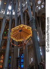 Interior of Sagrada Familia, Barcelona, Spain