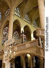Interior of Saint Etienne church in Paris