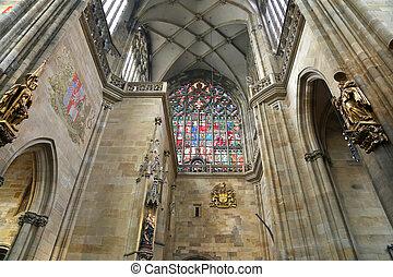 Interior of Saint Vitus Cathedral in Prague, Czech Republic