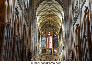 Interior of Saint Vitus Cathedral in Prague, Czech Republic