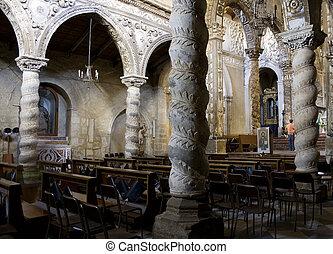 Interior of San Leone Basilica, Assoro - Italy