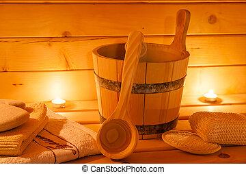 interior of sauna and sauna accessories - sauna interior and...