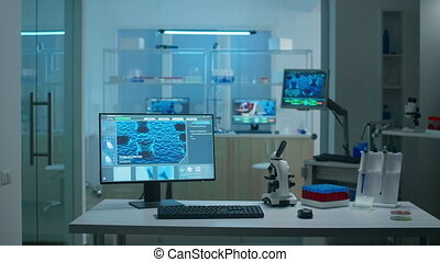 Interior of science laboratory with no people, prepared for pharmaceutical innovation using high tech, microbiology tools for scientific research. Vaccine development against covid19 virus.