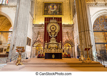 Interior of Seville Cathedral - Wide angle view of Seville ...