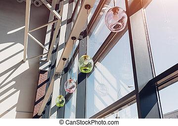 Interior of shopping center. Modern buildings. Window design