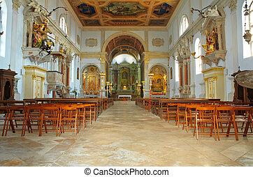 Interior of St. George church, Piran