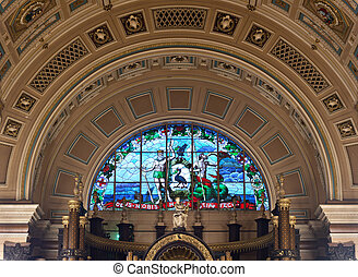 Interior of St Georges Hall, Liverpool, UK