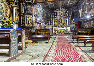 Interior of St John the Baptist church - Orawka, Poland. -...