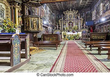 Interior of St John the Baptist church - Orawka, Poland. -...