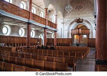 Interior of St. Peter's Church in Zurich