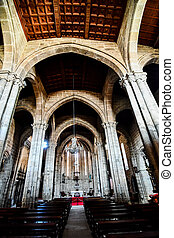 interior of st vitus cathedral of seville spain, photo as a background