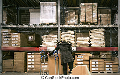interior of storehouse and buyer