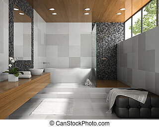 Interior of  stylish bathroom with grey walls 3D rendering