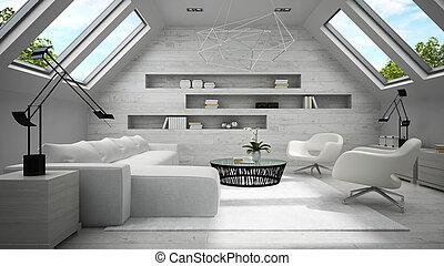 Interior of stylish light  mansard room 3D rendering