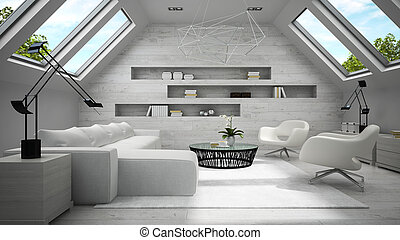 Interior of stylish light  mansard room 3D rendering