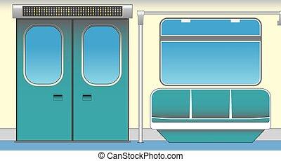 Interior of subway car