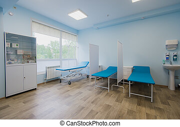 Interior of surgical recovery area in hospital