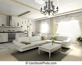 Interior of the apartment in classic style 3D rendering