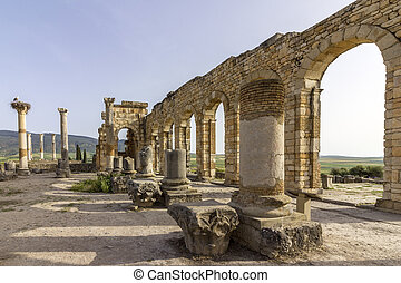 Interior of the Basilica at archaeological Site of Volubilis...