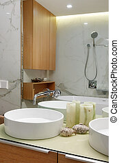 Interior of the bathroom with sinks