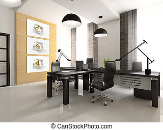Interior of the cabinet with concept images on wall. You can find these illustrations in my portfolio