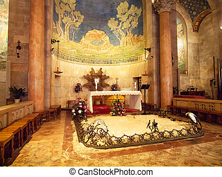 Interior of The Church of All Nations or Basilica of the...