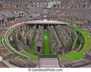 Interior of the Colosseum - The interior of the Colosseum of...