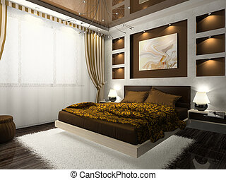 Interior of the comfortable bedroom in brown color -...