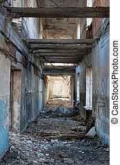 interior of the destroyed house