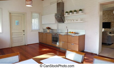Interior of the dining room flooded with sunlight - The ...