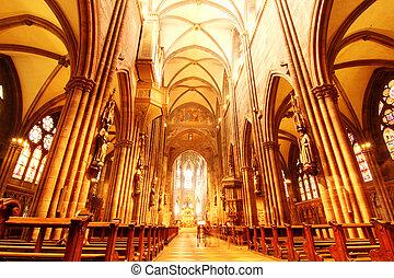 Interior of the Freiburg Muenster in Freiburg im Breisgau, Germany, Europe.