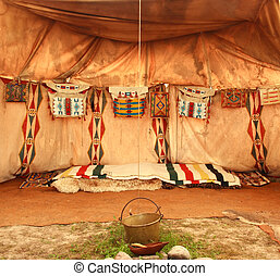 interior of the Indian tipi - interior of the Indian tent