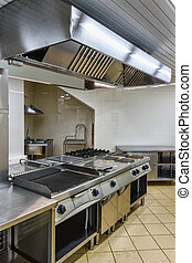 interior of the industrial kitchen with cooking facilities